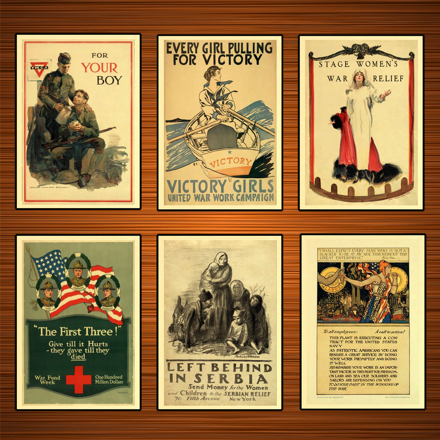 Vintage 1910s USA WW1 Propaganda Poster Left Behind in Serbia Classic Canvas Paintings Wall Stickers Home Decor Gift image