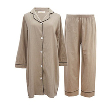 Cotton and linen spring summer pajamas set womens cotton simple fashion long-sleeved nine-point long home service