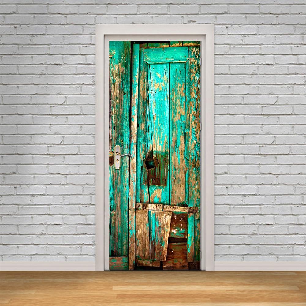 Decor poster pvc waterproof door stickers imitation 3d decal 2 pcs set old wooden door wall - Poster mural 3d ...