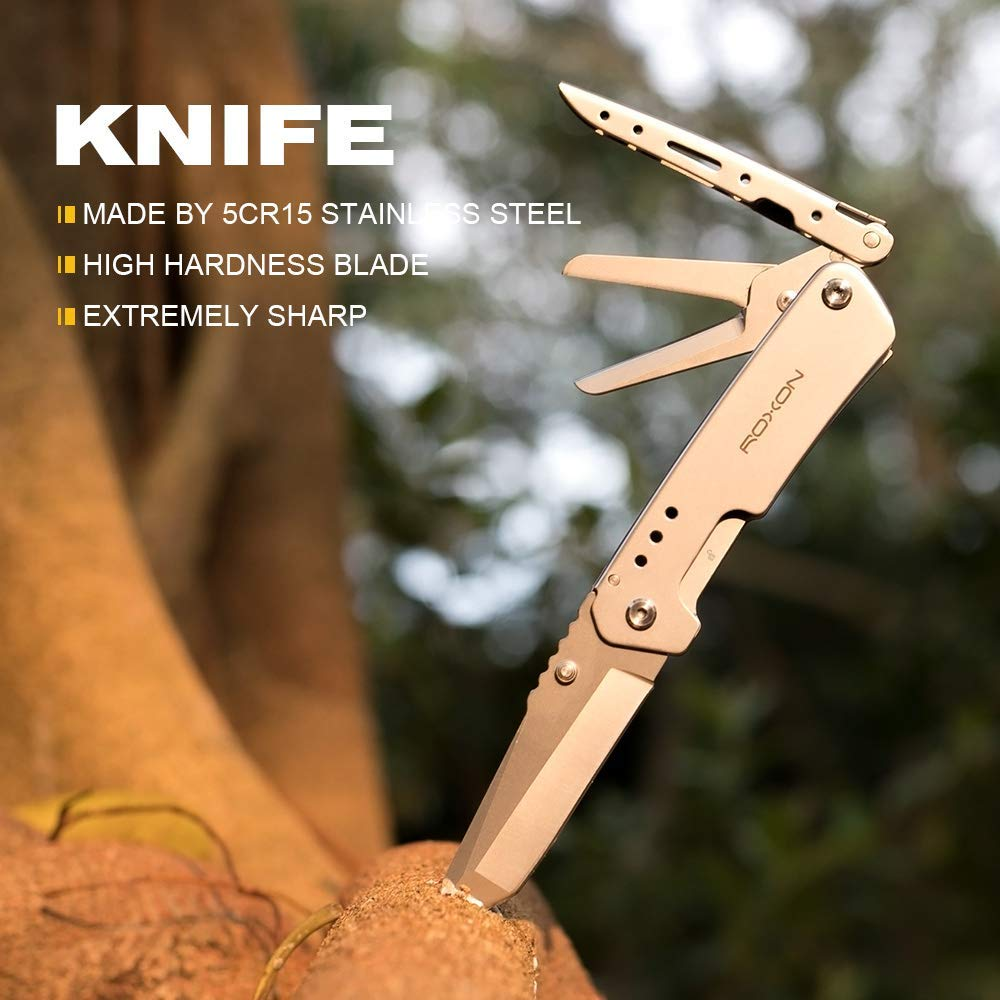 Roxon outdoor survival multi tool Knife and scissors camping equipment gear pocket EDC with with Belt Clip 4