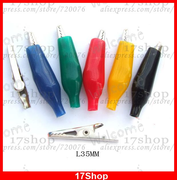 500 pièces 5 couleurs batterie test Insulation35mm pince crocodile vis test sondes