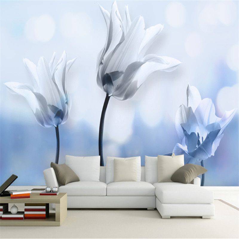 Blue and White Wallpaper 3d Hd Flower Wall Decor Room Wall Art Discount Wallpaper Paintings for Living Room TV Room Furniture цена 2017