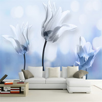 Blue and White Wallpaper 3d Hd Flower Wall Decor Room Wall Art Discount Wallpaper Paintings for Living Room TV Room Furniture