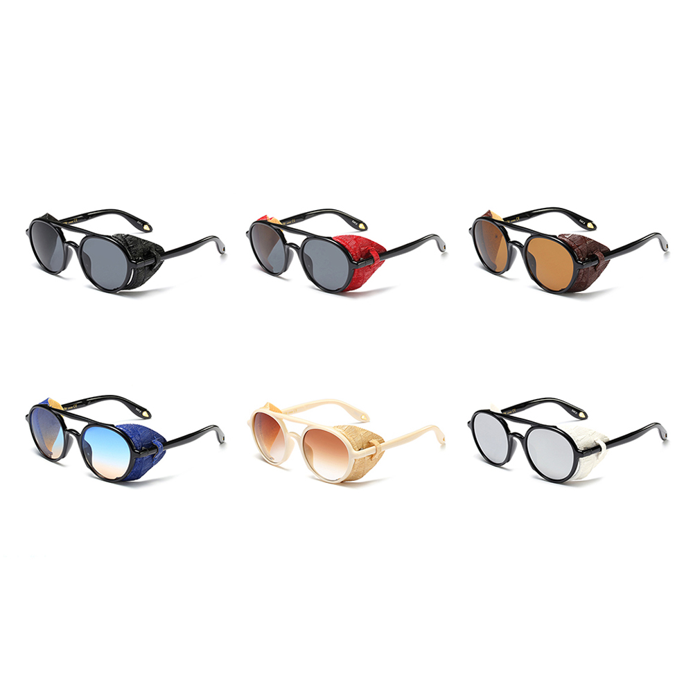 Men Sunglasses With Side Shields 2019 Summer Leather Round Retro Style UV 400