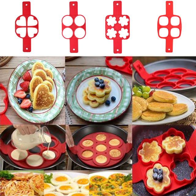 Red 4 Holes Silicone Pancake Maker Mold Nonstick Frying Egg Mold DIY Square Heart Circle Flower Egg Ring Kitchen Pancake Tools