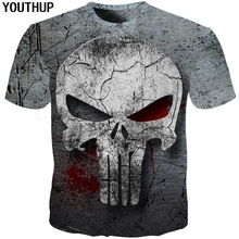 YOUTHUP 2018 3d Skull T Shirt Men 3d Full Print Tees Shirt Homme Punisher 3d T Shirt Fitness Compression Men T Shirt Plus Size