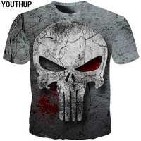 Youthup 2020 3d crânio t camisa dos homens 3d impressão completa t camisa homme punisher 3d t camisa de compressão de fitness dos homens t camisa mais tamanho