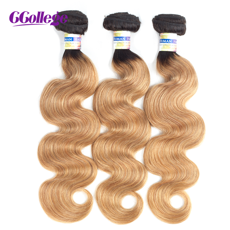 CCollege Brazilian Body Wave Hair 3 Bundles Machine Double Weft Ombre Two Tone Human Hair Weave Black Brown Remy Hair Extensions ...
