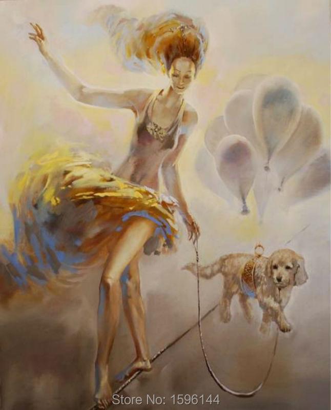Картина маслом Ручная Роспись фигурки акробатические девушки ультра современные настенные художественные картины холст абстрактные карт... - 3