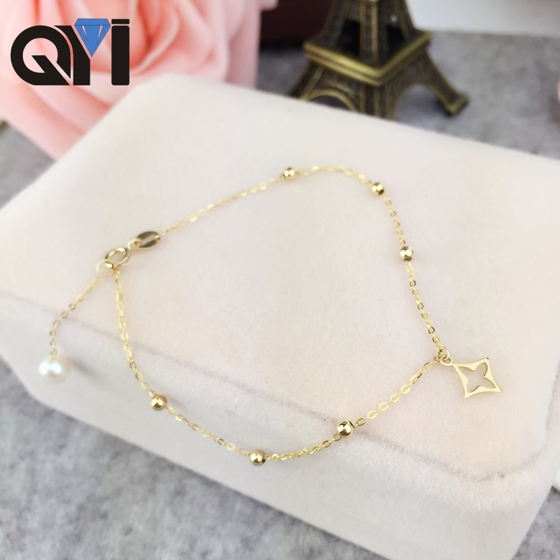 все цены на QYI Bracelet For Women Natural Cultured Freshwater Pearl Chain Pure AU750 18K Yellow Gold Bracelet Jewelry High Quality Pearl онлайн