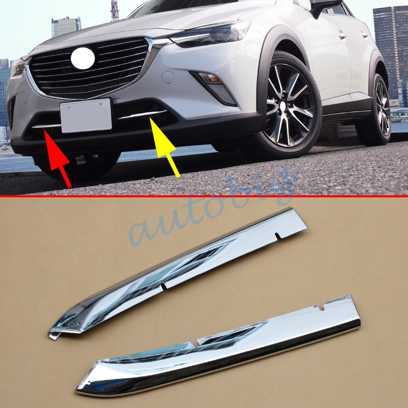 Buy  (Set Of 2) Chrome Grill Cover Trim For Mazda CX-3 2016 2017 Front Bumper Air-inlet Grille for $20.52 in AliExpress store