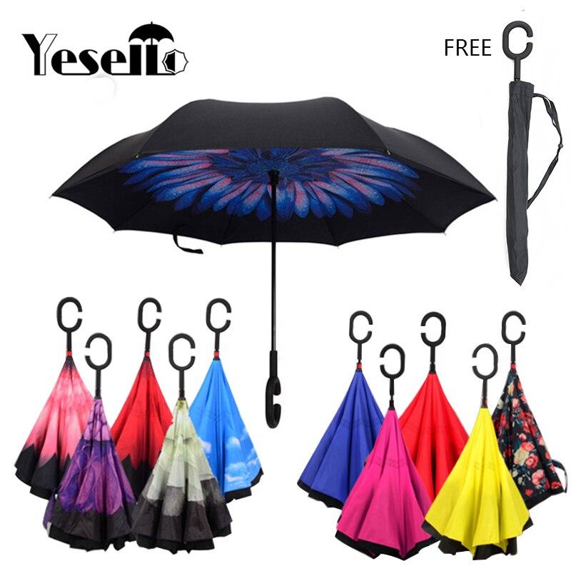 Yesello coupe-vent parapluie inversé + porte-parapluies inversé sac de voiture pour les hommes de pêche