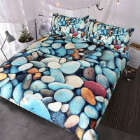 BlessLiving Beach Stones Bedding Set 3 Piece Colorful Duvet Cover 3D Printed Vivid Bed Set Rock Blue Red Orange Bedspreads