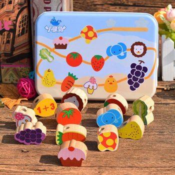 Ξύλινα Παιχνίδια cartoon Φρούτα Ζώα diy Εκπαιδευτικά Παιχνίδια montessori Για Τα Παιδιά