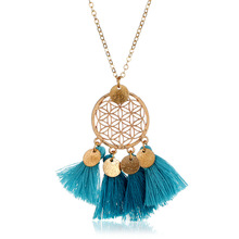 QTWINDY Long Tassel Pendant Necklace Women Boho Sweater Chain Alloy Fringe Silk Vintage collar Fashion
