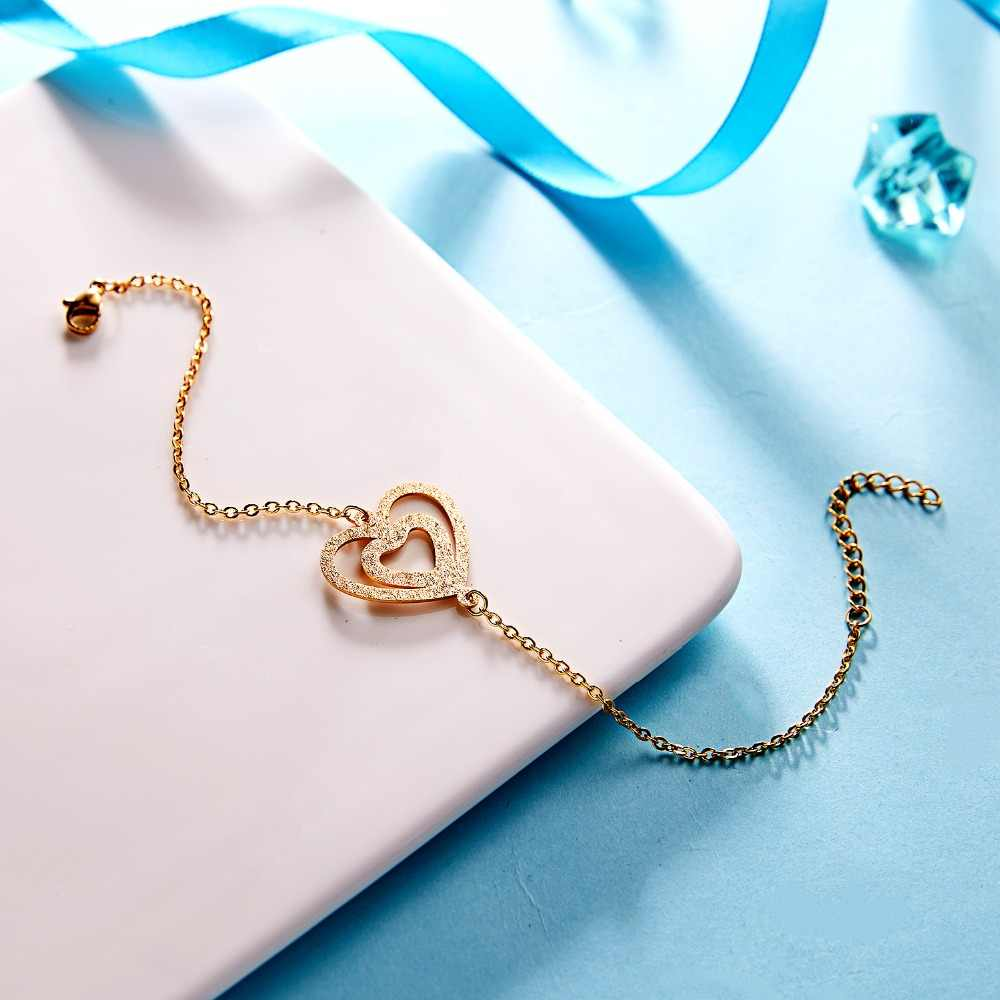 Pulseras Mujer, золотой цвет, браслет из нержавеющей стали, любовь, снег, бесконечное очарование, браслет для женщин, дружба, подарок, свадебные ювелирные изделия
