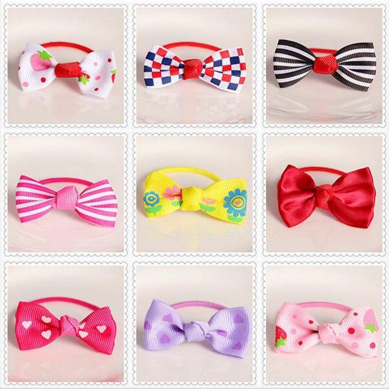bowknot headwear accesorios para el cabello flor del tocado de corea raya tela anillo de cuerda