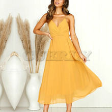 Women CUERLY Strap Boho Beach Dress Elegant V Neck Evening Midi Sexy Summer Long Party Festa