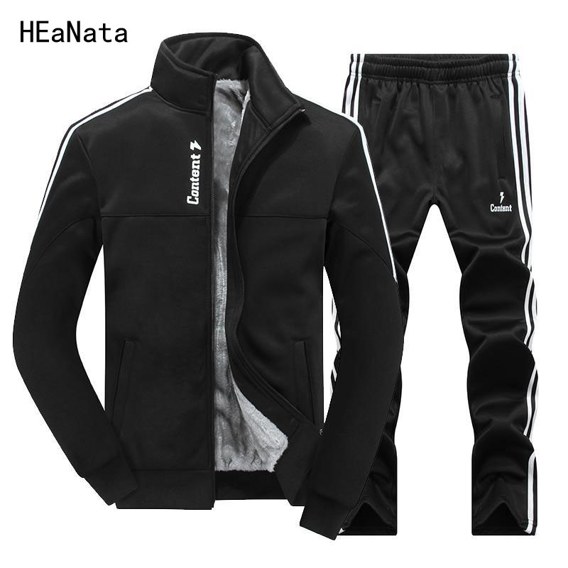 Winter Tracksuit Men Sets Thicken Fleece Jackets + Pants Casual Sweatshirt Sportswear Set Male Hoodies Sporting Masculino