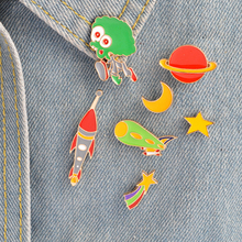 Space Series Brooches Cartoon Spaceship Rockets Star Moon Enamel Pins For Kids Metal Backpack Jackets Decoration Badges Jewelry