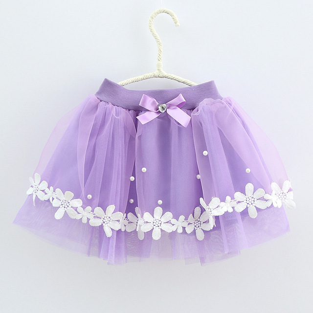 HOT! 2017 Children's Clothing Girl Fashion Net Yarn Princess Skirt Bow Bright Beads Skirt Children Sweet and Cute Lace Skirt