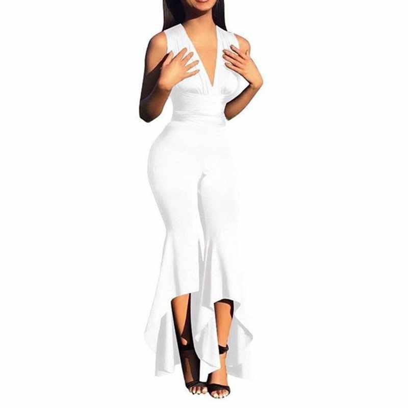 Сексуальный комбинезон женский летний с v-образным вырезом без рукавов расклешенные брюки Клубная одежда черный комбинезон женские модные элегантные вечерние белые длинные Комбинезоны