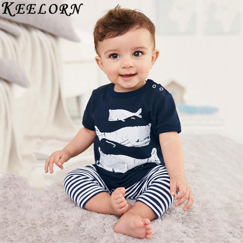 2016 Summer Style Infant Clothes Baby Clothing Sets Three small fish model Cotton Short Sleeve 2pcs Baby Boy Clothes