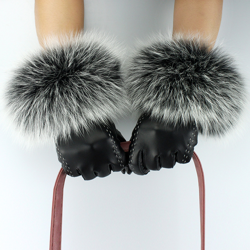 JKP 2018 new Ladies leather gloves female fox fur mouth plus velvet sheepskin gloves warm touch screen fashion gloves ST-011