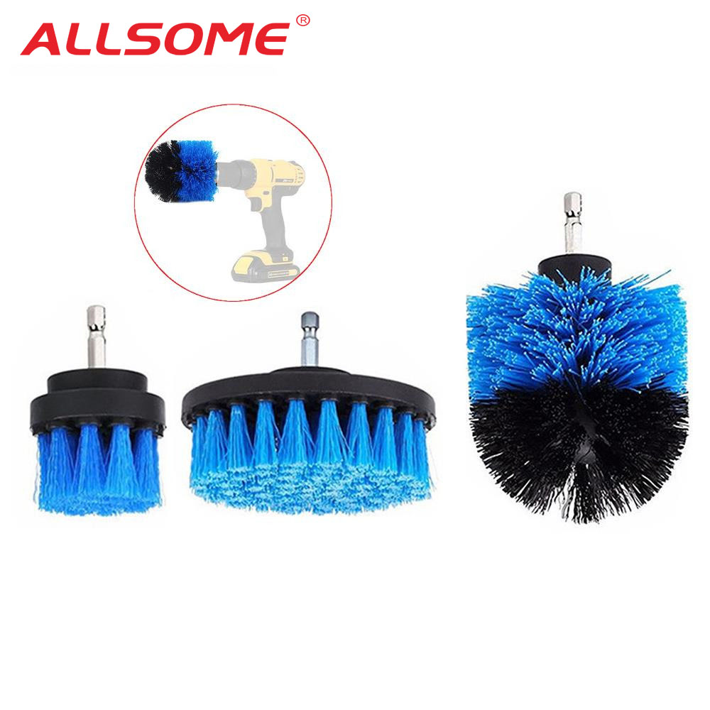 ALLSOME 3 piezas 2/3 5/4 pulgadas taladro azul cepillo azulejos de depurador bañera cepillo de limpieza para el taladro eléctrico HT1848