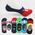 La nueva bandera calcetines de la nave calcetines de algodón zapatos guisantes marea hombres invisibles superficial de ultra corto tubo de silicona antideslizante calcetines boca