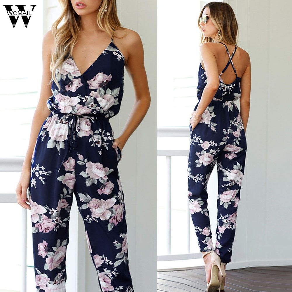 Womail bodysuit Women Summer Casual   Jumpsuit   Sleeveless V-Neck Floral Printed Playsuit Party Trousers fashion 2019 dropship M1