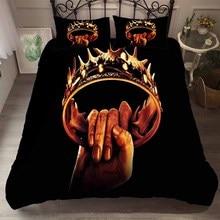 Game of Thrones Bedding Set 3D Hand Grip Golden Crown Printed Black Microfiber Teens/Adult Duvet Cover 3 Pieces+2 Pillowcase