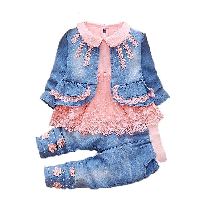 פעוט ילדה בגדי 2019 חדש אביב סתיו ללבוש תינוק קאובוי בגדי סטי 3 pcs ילדי תינוק קאובוי חליפת ילדי בגדים סטים