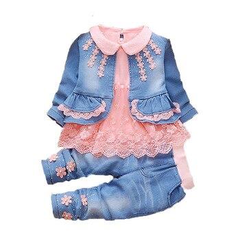 51babb94c Ropa de niño niña 2019 nueva ropa de primavera otoño conjunto de ropa de  vaquero para bebé 3 piezas niños bebé traje de vaquero ropa para niños  conjuntos