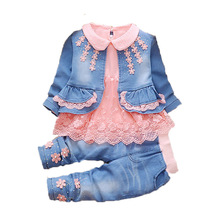 цены Toddler Girl clothes 2019 New spring Autumn wear baby cowboy clothing sets 3pcs Kids baby cowboy suit children clothing sets