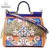 Misanwiney Bags Female 2018 Female Handbag Genuine Leather Bag Platinum Messenger Bag Large Capacity Color Block