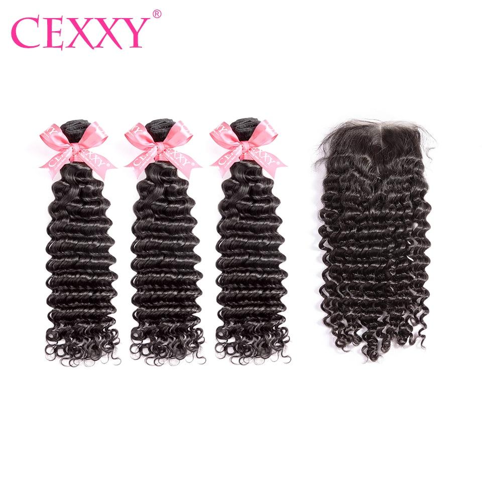 CEXXY Hair Weave Bundles Human Hair Malaysian Deep Wave Bundles With Closure 4 4 Lace Closure