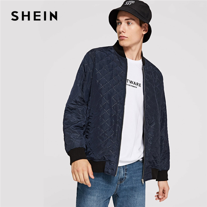 1348177de2 SHEIN Men Navy Casual Solid Pocket Zip Up Textured Stand Collar ...