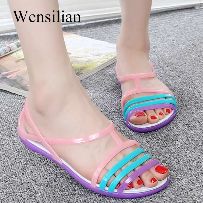 Women Sandals Slippers Jelly-Shoes Flip-Flops Slides Candy-Color Flat Beach Casual Ladies