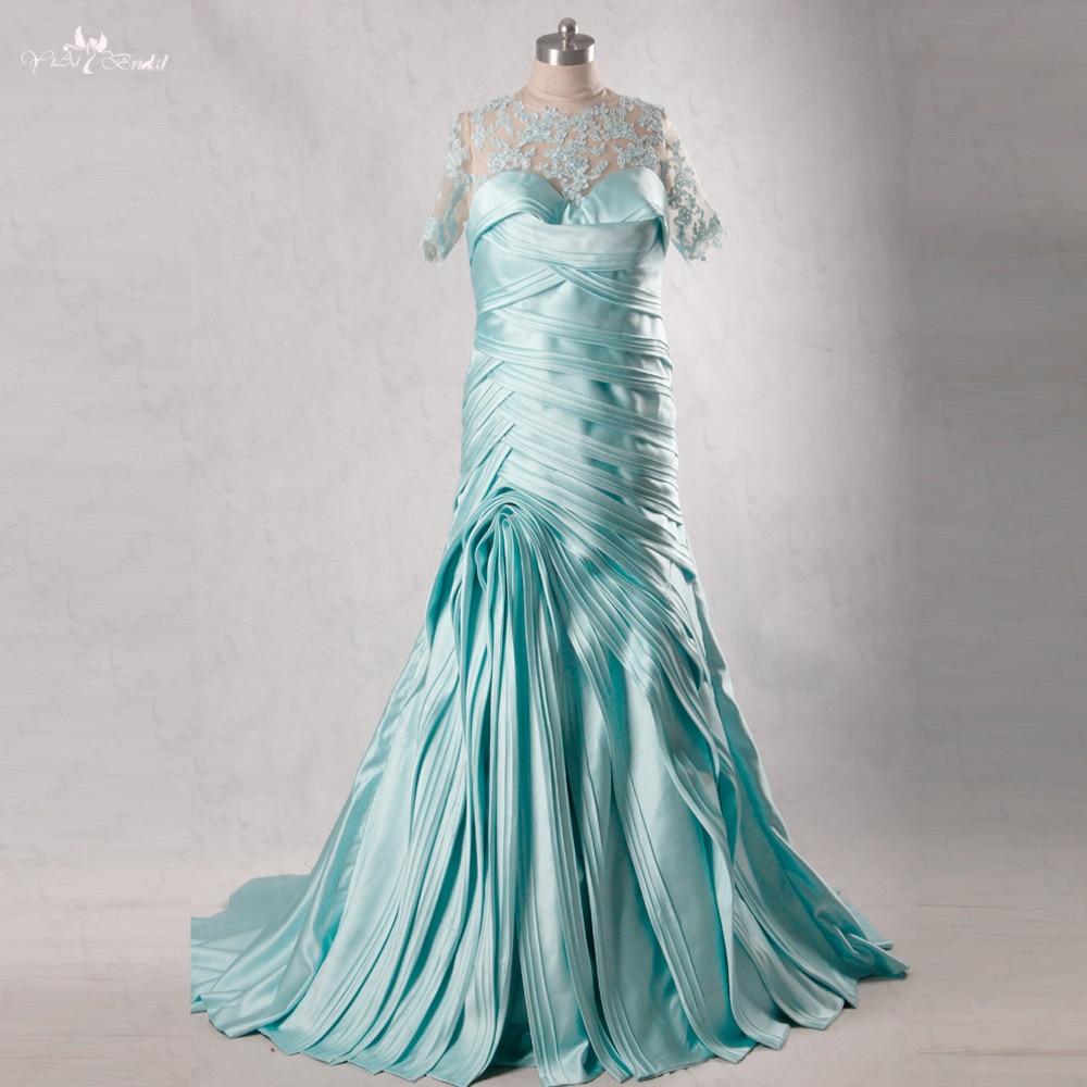 RSE196 Light Blue Bandage Ribboned Pleated Satin Mermaid Plus Size ...