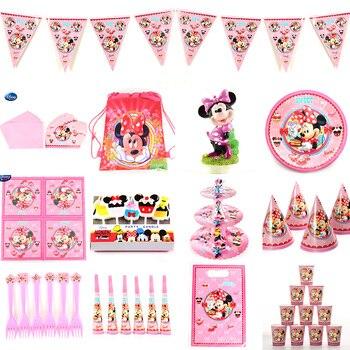 Minnie fiesta niño niña cumpleaños fiesta Rosa artículos para fiestas festejos decoración vajilla desechable bolsas de regalo placa globo de copa
