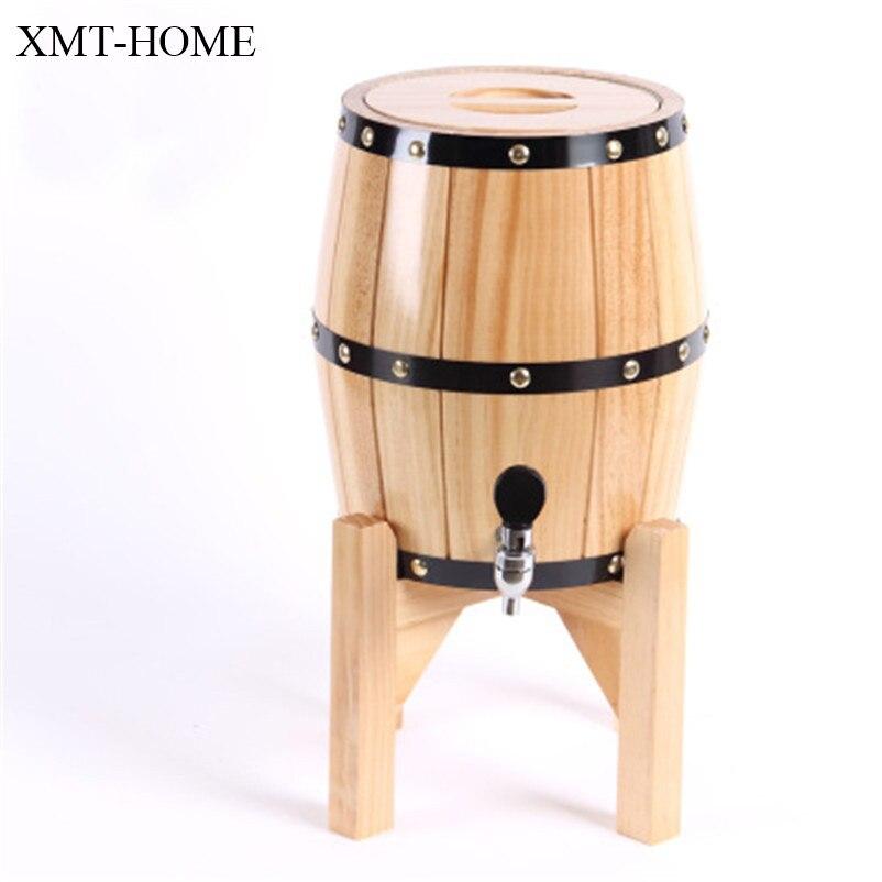XMT-HOME seau à vin vertical chêne bois support en acier inoxydable réservoir mini fûts mini alcool bière fûts 3L