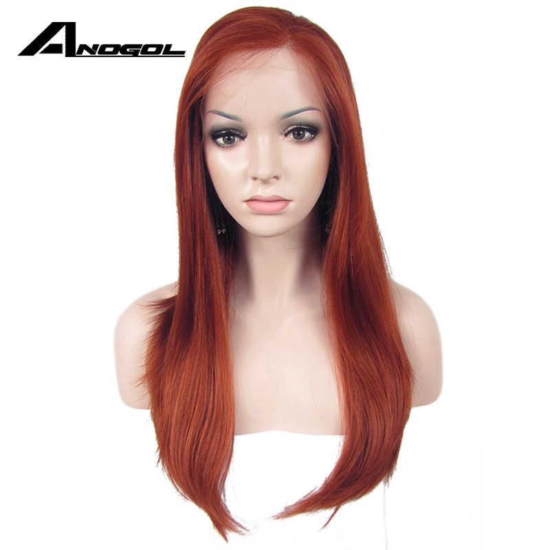 Anogol высокотемпературное волокно Perruque Peruca Cooper красные парики длинные натуральные волны синтетические кружева спереди парик для женщин Косплей