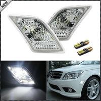 (2) 제논 화이트 LED 조명 w/클리어 렌즈 사이드 마커 램프 2008-2011 메르세데스 벤츠 C250 C300 C350 및 2008-2013 C63 AMG
