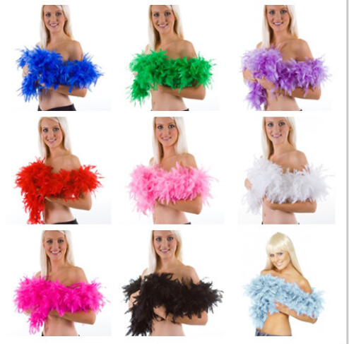 50PCS 40g 2M Wedding Decorations Party Holiday Pub Ostrich Feather Boa Fluffy Flower Costume Plume Centerpiece
