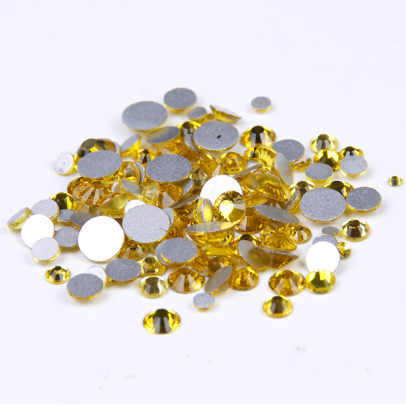Citrine Color Non Hotfix Crystal Rhinestones SS3-SS34 Facets Glue On Strass Diamonds Appliques For Wedding Dresses Decorations 12 facets of a crystal