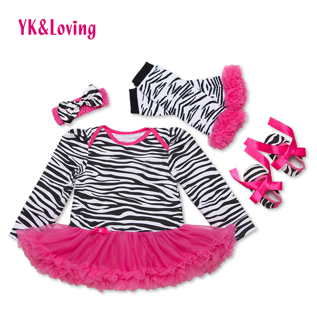 Pink Ruffle Baby Tutu Dress Full Sleeve Girl Clothing Sets 4 Piece Cotton Bodysuit for Newborn Girls Spring and Autumn