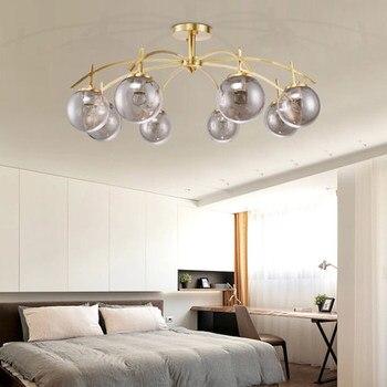 Modern Nordic Indoor Lighting Copper Led Chandelier Light Painted Metal Gray Glass Shades Chandelier For Foyer Bedroom