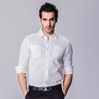 2017 남성 긴 소매 턴 다운 칼라 셔츠 전면 포켓 슬림핏 캐주얼 드레스 셔츠 남성 화이트 Y302
