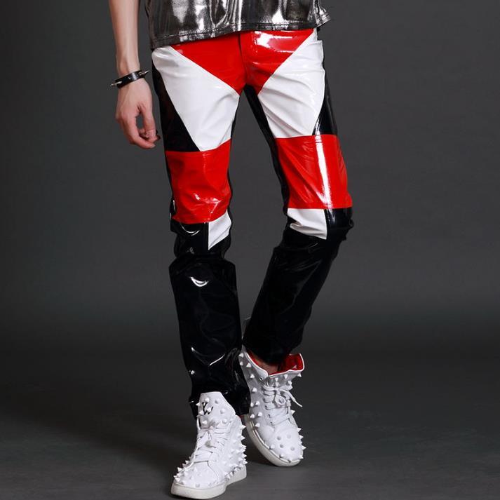 Schlanke Hosen Motocross Füße Tanz Männer stage Schwarz 88 Weiß Herren Us66 Lederhose Sänger Rot Splice Persönlichkeit Fashion 24Off Qthrds
